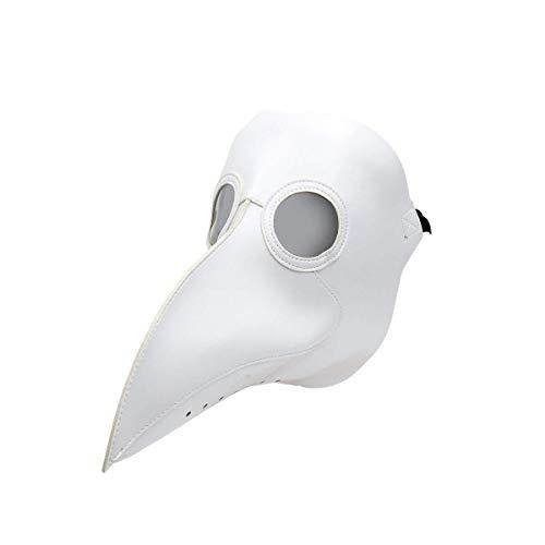 Wbdd Maske Neue Pest Arzt Maske Schnabel Arzt Maske Lange Nase Cosplay Fancy Maske Gothic Retro Rock Leder Halloween Schnabel Maske weiß