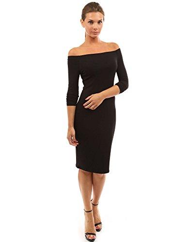 PattyBoutik Damen Schulterfreies Kleid mit Langen Ärmeln (schwarz S 36/38)