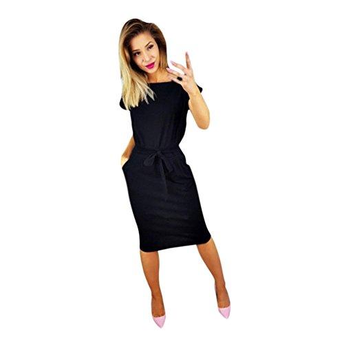Lilicat Damen Casual Kleid Sommer Kleid Mit Tasche Damen Kurzarm Abendkleid Partykleid Minikleid Midikleid Strandkleid Retro Vintage Elegant Rundhals Kleid Sport Kleid (M, Schwarz) -
