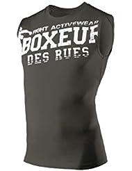 BOXEUR DES RUES Serie Fight Activewear, Canotta A Girocollo con Logo Uomo, Verde Militare, M