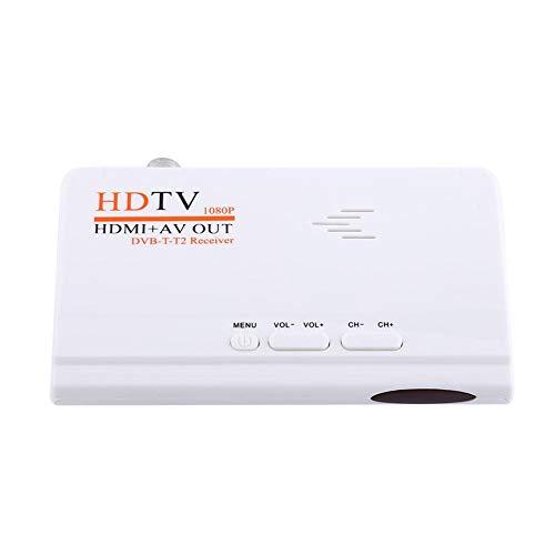 ASHATA HD DVB-T2Receptor, 1080p HD HDMI DVB-T2TV Box sintonizador Receptor convertidor, HDTV Receptor de DVB-T2con Salida HDMI/Mando a Distancia Negro EU Conector