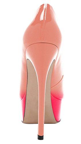 Guoar - Scarpe chiuse Donna (Natural und Pink)