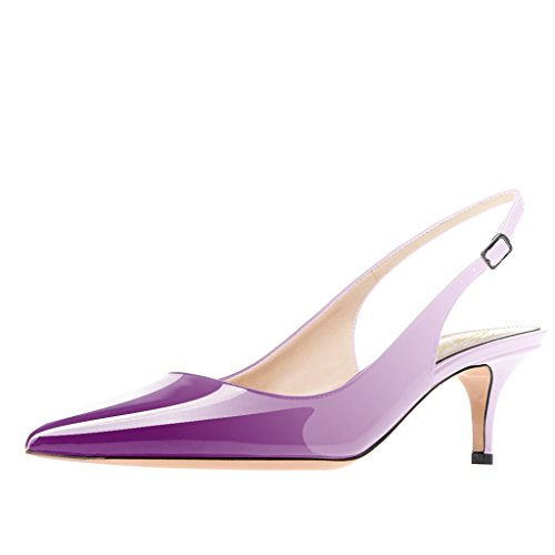 Lutalica Frauen Kitten Heel Spitze Patent Slingback Kleid Pumps Schuhe für Party Patent Lila Größe 39 EU