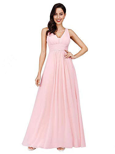 fef3d2c2d2f0 Ever-Pretty Abito da Sera Scollo a V Donna Lunga Chiffon Impero Rosa Claro  48