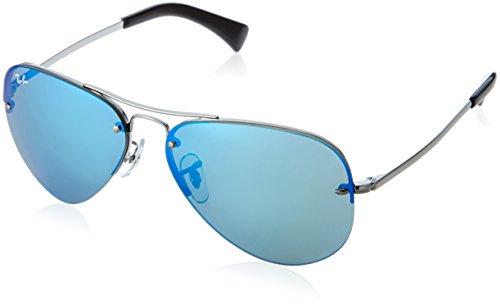 Ray Ban Unisex Sonnenbrille RB3449 Grau (Gestell: Gunmetal, Gläser: Blau Verspiegelt 004/55)), Large (Herstellergröße: 59)