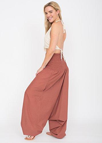 Pantalon Combi Maxi Harem en Coton Vieux Rose