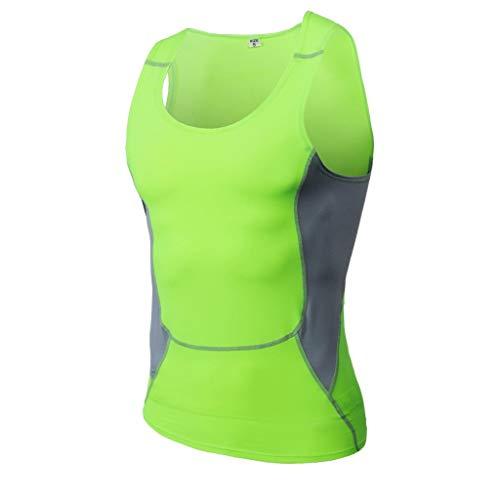 DEELIN Herren T-Shirt Slim-Fit Easy Business Kurzarm UnterhemdMänner Bodybuilding Atmungsaktiv Sport Fit Schlank Ärmelloses Hemd Bluse ()