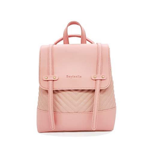 Beylasita Damen Mode PU Leder Rucksack Kleiner Schultertasche Umhängetasche Handtaschen Schultasche Satchel für Mädchen Multi Backpack Daypack (Pink)