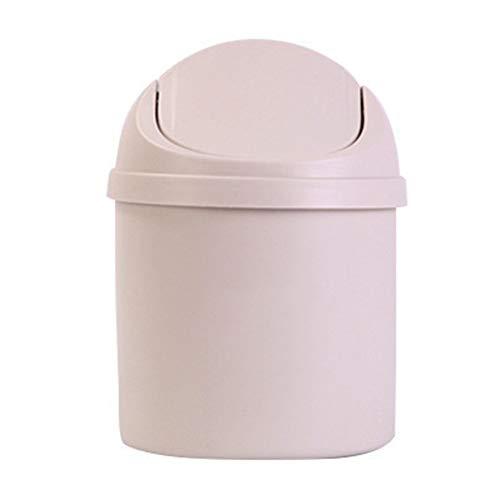 lymty Tiny Desktop Mülleimer, Tiny Mülleimer mit Deckel, Kunststoff Mini Small Cute Mülleimer Desktop-Müll mit Schwingdeckel, Runde Kleine Mülleimer Mini-Mülleimer für Schminktisch