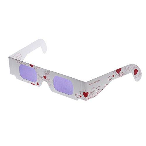 Brille zum Herzen Sehen, Love is in the Air, Effektbrille verwandelt Licht in bunte Herzchen, 3D Brille Herzeffekt zur Hochzeit, 50 St.