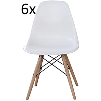 AHOC 6 White Eames Inspired ABS Dining Chairs   DSW Eiffel Side Dining  Chairsu2026