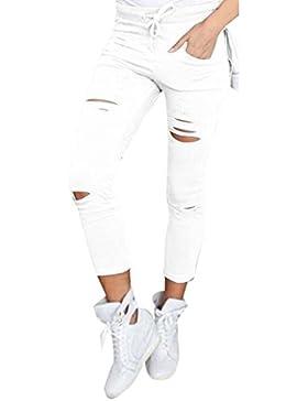 ALIKEEY 2018 ♛ Pantalones De Pinzas Delgadas Las Mujeres La Cintura Alta Pantalones Casuales Agujero Mujer Cintura...