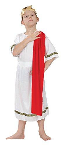 Fancy Me Mädchen oder Jungen Weiß Rot Römische Toga Schule Kostüm Kleid Outfit 4-14 Jahre - Jungen, 7-9 Years