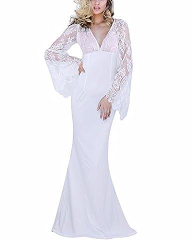 BIUBIU Damen Mode Cocktailkleid Hochzeit Langes Abendkleid Spitze Partykleider Weiß DE 40