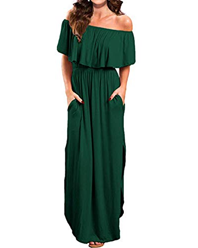 879b612addfccb Kidsform Sommerkleider Damen Maxikleid Off Shoulder Bandeau Langes Kleid  Boho Kleider Casual Strandkleider Cocktail AbendkleidXXL