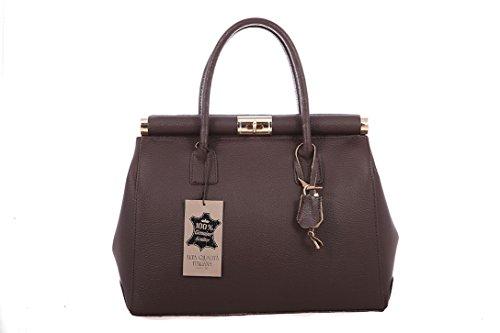 CTM Bowler sac par des femmes élégantes avec des poignées et bandoulière, 35x28x16cm, cuir véritable Fabriqué en Italie