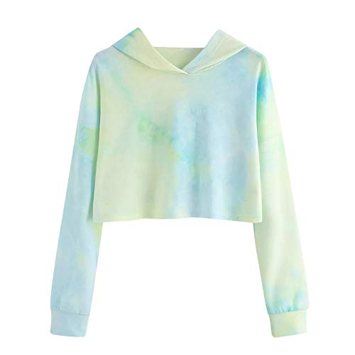 Damen Hoodie, Bluelucon Langarm Sweatshirts Bluse Oberteile Kurz Gedruckte Lange Hülse Sweatshirt Bunte Tie Dye Crop Tops Drucken Pullover Fleece-tie Dye Tie