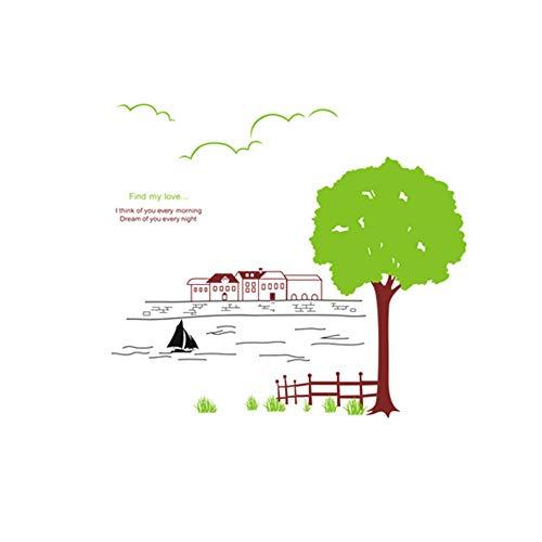 WJY Baum und fluss hause schlafzimmer wohnzimmer kunst wandaufkleber sofa hintergrund wand kreative dekoration kinderzimmer wandaufkleber diy aufkleber112 x 99 cm - 99 Sofa