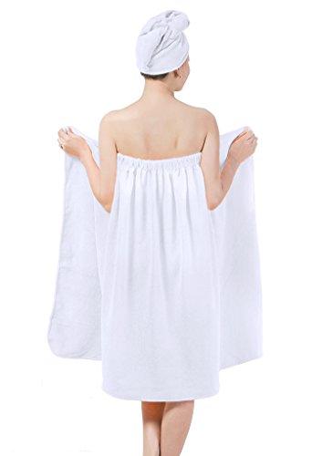 YJZQ: juego de toalla-vestido y toalla-gorro de baño, 2 en 1, en microfibra; la toalla te servirá...