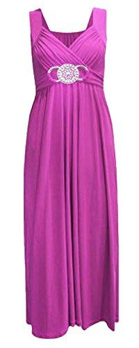Frauen plus size Schnalle Taille binden zurück Abend lange Maxi-Kleid (44/46, Purple) Frauen Maxi Abend Kleider