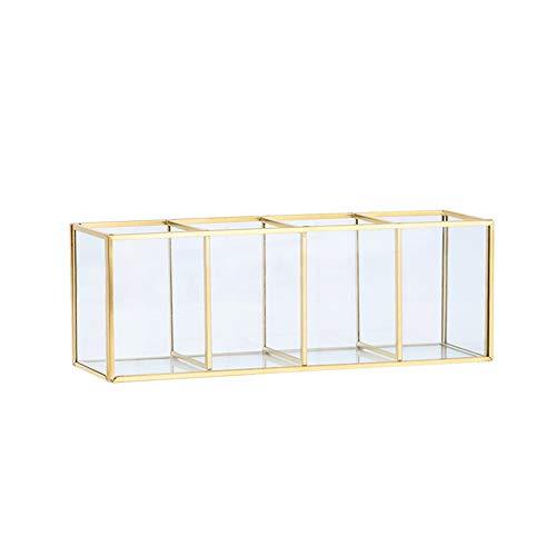 Cosmetic Storage Box, Gioielli D'oro Lastra Di Vetro, Dressing Table Forma Lattice, Classificato Finitura Desktop, Bagagli,L