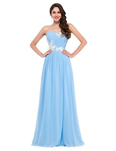 Damen kleider elegant abendkleider lang chiffon himmelblau trägerlos brautjungfern kleid Größe 38...