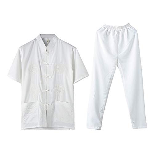 Meijunter Herren Tai Chi Uniform Anzug, Traditionelle Chinesische Tang Anzug Kampfkunst Kung Fu Kurze Ärmel Shirts + Hose Kung Fu Shirt Hose