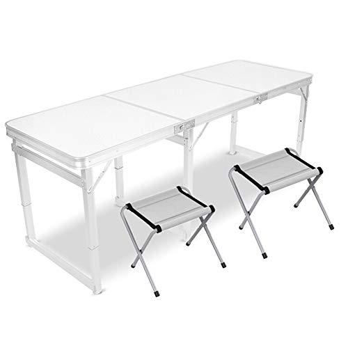 zhediezhuo Tables et chaises pliantes Table à manger Table d'extérieur Table d'aluminium portable Ménage Long tube carré 1,8 m + 2 tabouret en aluminium ou banc en tissu Table pliante