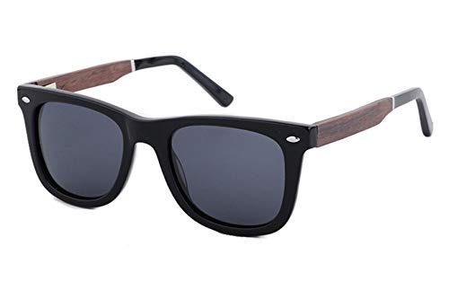 Polarisierte Sonnenbrille mit UV-Schutz Gemusterte quadratische Form Männer polarisierte Sonnenbrille Acetat-Faser und Holzrahmen TAC Objektiv UV-Schutz fahren Angeln Strand Sonnenbrillen Superleichte