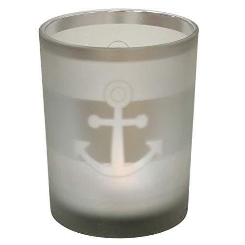 Krasilnikoff - Teelichthalter - Votive - Anker - Silber - gefrostet - Ø 10 cm