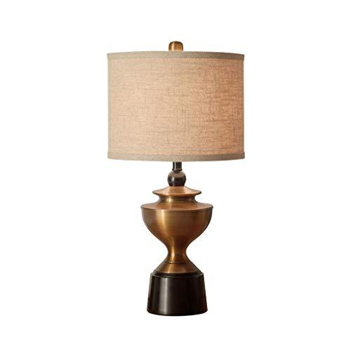 Lámpara de mesa, lámpara de cabecera de metal, pantalla de tela de estilo americano clásico, para decorar la sala de estar Dormitorio Comedor Lámpara de pie (Size : Button switch)