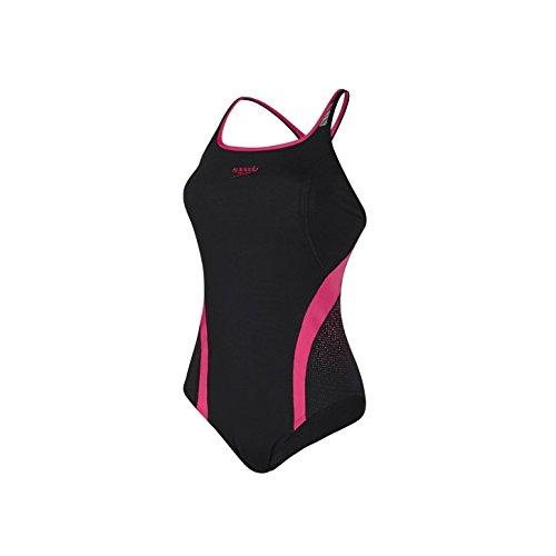 speedo-speed-fit-pinnacle-kickback-swimsuit-black-pink-44-noir-noir-rose