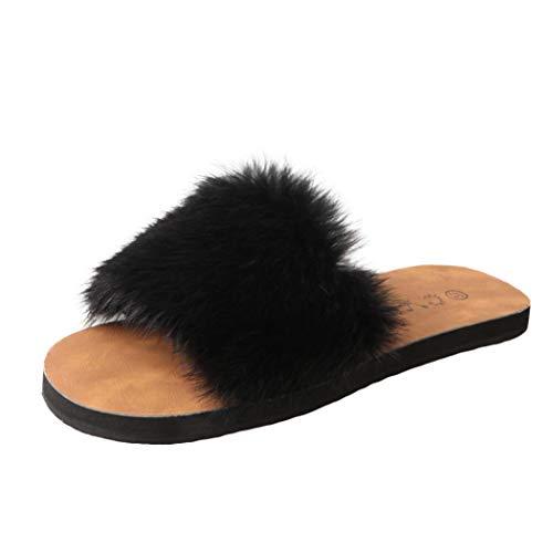 Ciabatte da donna, honestyi slip on sliders in soffice pelliccia ecologica sandal casual con piatto pantofola flip flops pantofola donna scarpe da spiaggia sandali scarpe basse