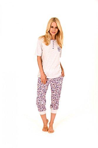 Toller Damen Pyjama kurzarm mit Caprihose - Caprihose mit Bündchen - 171 204 90 602 Grau-Melange