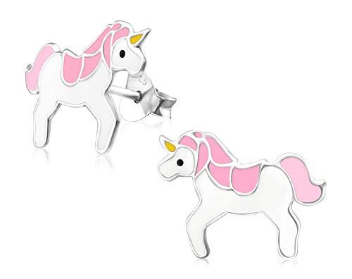 Laimons Kids Pendientes para niña Unicornio Rosa
