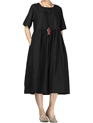 Mallimoda Damen Leinen Sommer Kleider Rundhals Kurzarm Midi Kleid mit Doppelte Taschen Schwarz XL