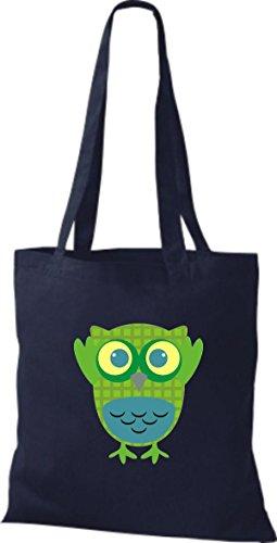 ShirtInStyle Jute Stoffbeutel Bunte Eule niedliche Tragetasche mit Punkte Owl Retro diverse Farbe, braun blau