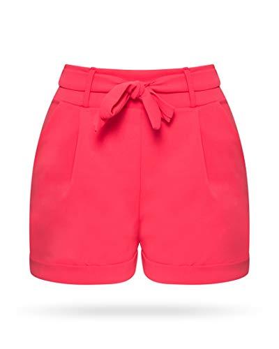 Stretch-wolle T-shirt (Kendindza Damen Sommer Shorts | Kurze Hose mit Schleife zum binden | Bermuda | Uni-Farben (L/XL, Pink Neon))