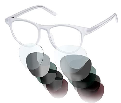 Sym Brille mit wählbarer Sehstärke von -4.00 (kurzsichtig) bis +4.00 (weitsichtig) und auswechselbare Gläser in 6 Farben, für Damen & Herren (Unisex), Modell 03 in Milk White