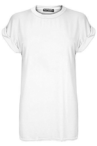 Femmes Extensible Élastique Uni Baggy Coupe Large Ras De Cou Court Retroussées Mancheron T-shirt Haut Blanc uni
