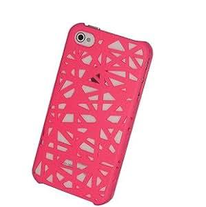 Pink 3D hohle Vogelnest Design-Net Mesh-Schutz Snap-On harter Gummi-Kasten für iPhone 4 4S