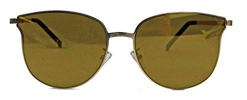 Randlose Retro Sonnenbrille Flat Lens Pantobrille flache Gläser Metallrahmen G21 (Braun verspiegelt)