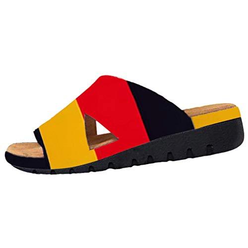 Cooljun Frauen Yoga Matte Flip-Flop Frauen Dicke Bottomed Sandal Schuhe Deutsche Flagge Patriotische ShoesWedge Heel Sandalen Klippzehe Sommer Strand Schuhe