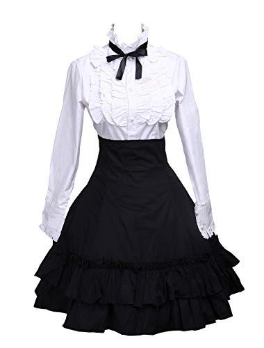 Antaina Schwarz Baumwolle Falten Knielang Elegant Lolita Rock und viktorianisch Fliege Bluse,XL