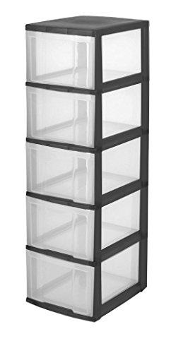 Iris Schubladenschrank/Schubladenbox/Rollwagen/Rollcontainer/Werkzeugschrank 'New Chest', NMC-305, mit Rollen, Kunststoff, schwarz/transparent