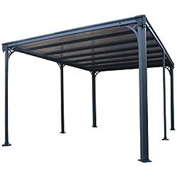 Palram Milano 4300 Tonnelle de Jardin Toit Plat - Structure Aluminium et Toit Rigide 4X3 - Pour Couvrir une Terrasse Toute L'année - Garantie 10 Ans