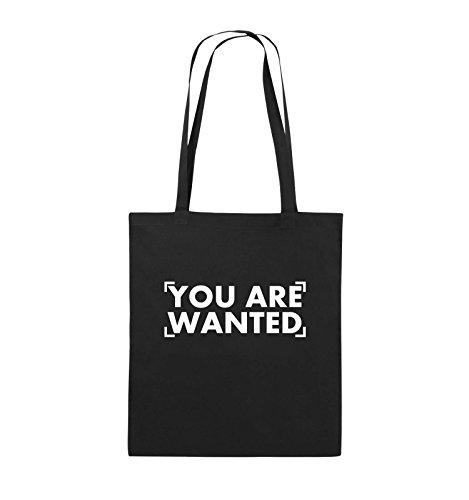 Comedy Bags - YOU ARE WANTED - LOGO - Jutebeutel - lange Henkel - 38x42cm - Farbe: Schwarz / Pink Schwarz / Weiss