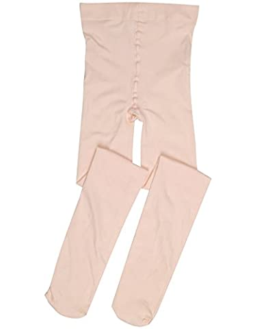 Footed Ballet Tights for Girls (Tank Pink, Ages of 9 - 12)