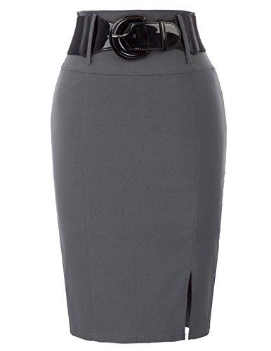 Hohe Taille Bleistift Stretch Rock für Frauen Knielänge Größe S BP762-2 (Detail, Naht Bleistift-rock)