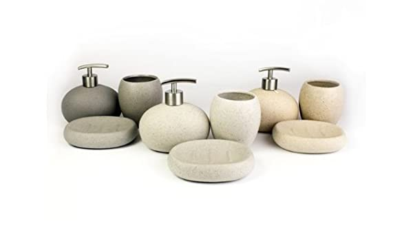 Ceramic Stone Effect Bathroom 3 Pieces Set, Sand: Amazon.co.uk ... | {Badaccessoires stein 4}